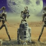 Art featuring Star Wars characters R2-D2 and battle droids on a moon planet.