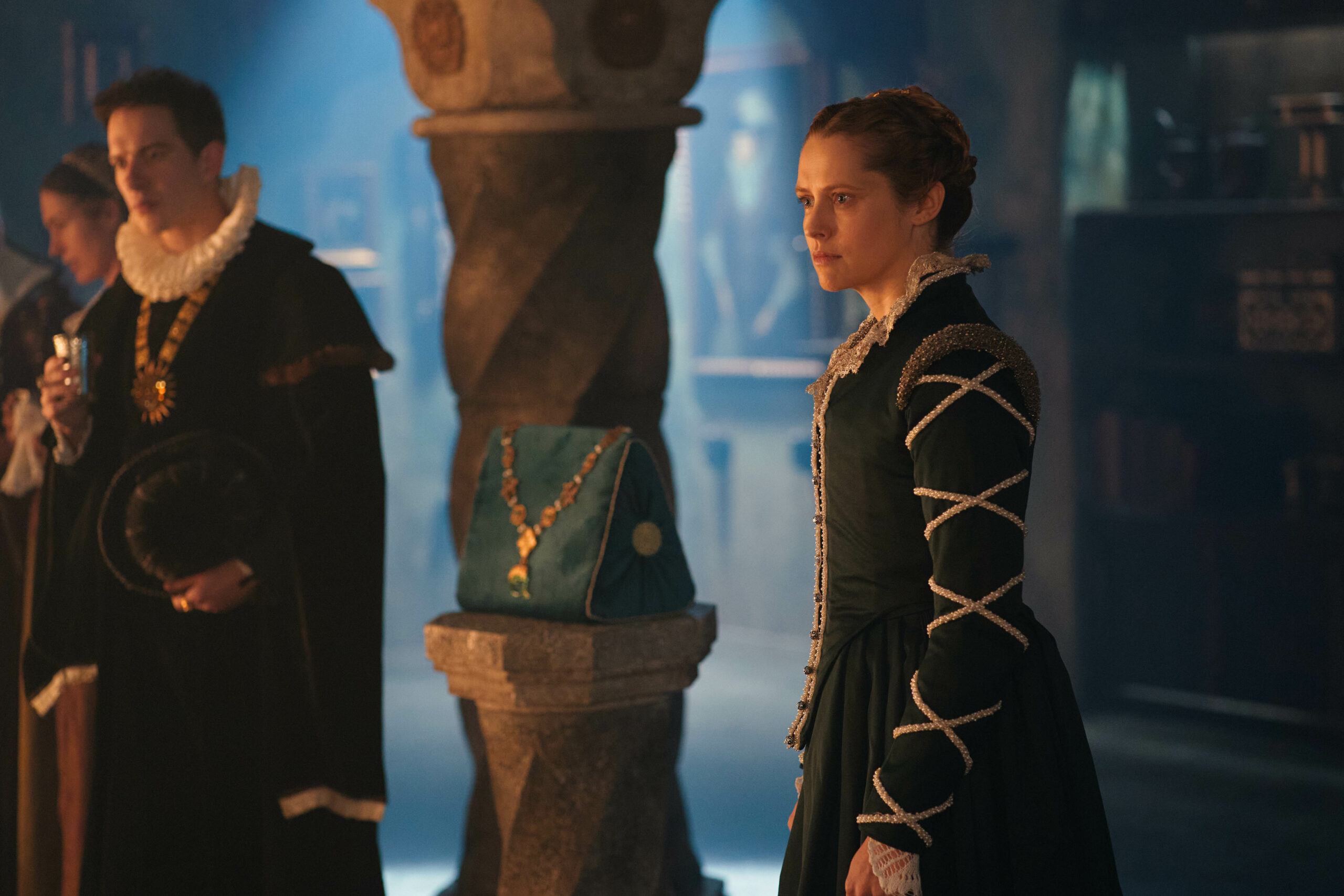 [Image description: Theresa Palmer as Diana Bishop in A Discovery of Witches season 2] ©Sky UK Ltd.