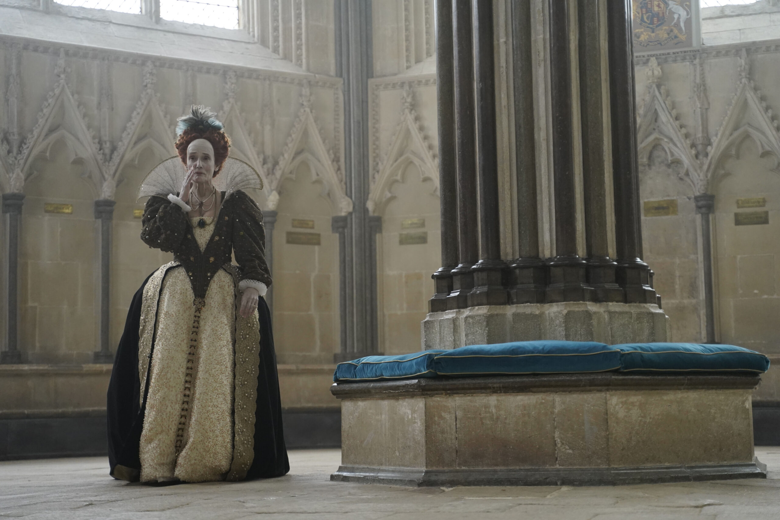 [Image description: Queen Elizabeth I in A Discovery of Witches season 2] ©Sky UK Ltd.