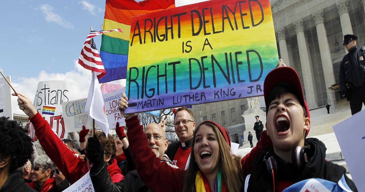 [Image description: People in the capitol after the Supreme Court strikes down the Defense of Marriage Act.] Via sayanythingblog.com