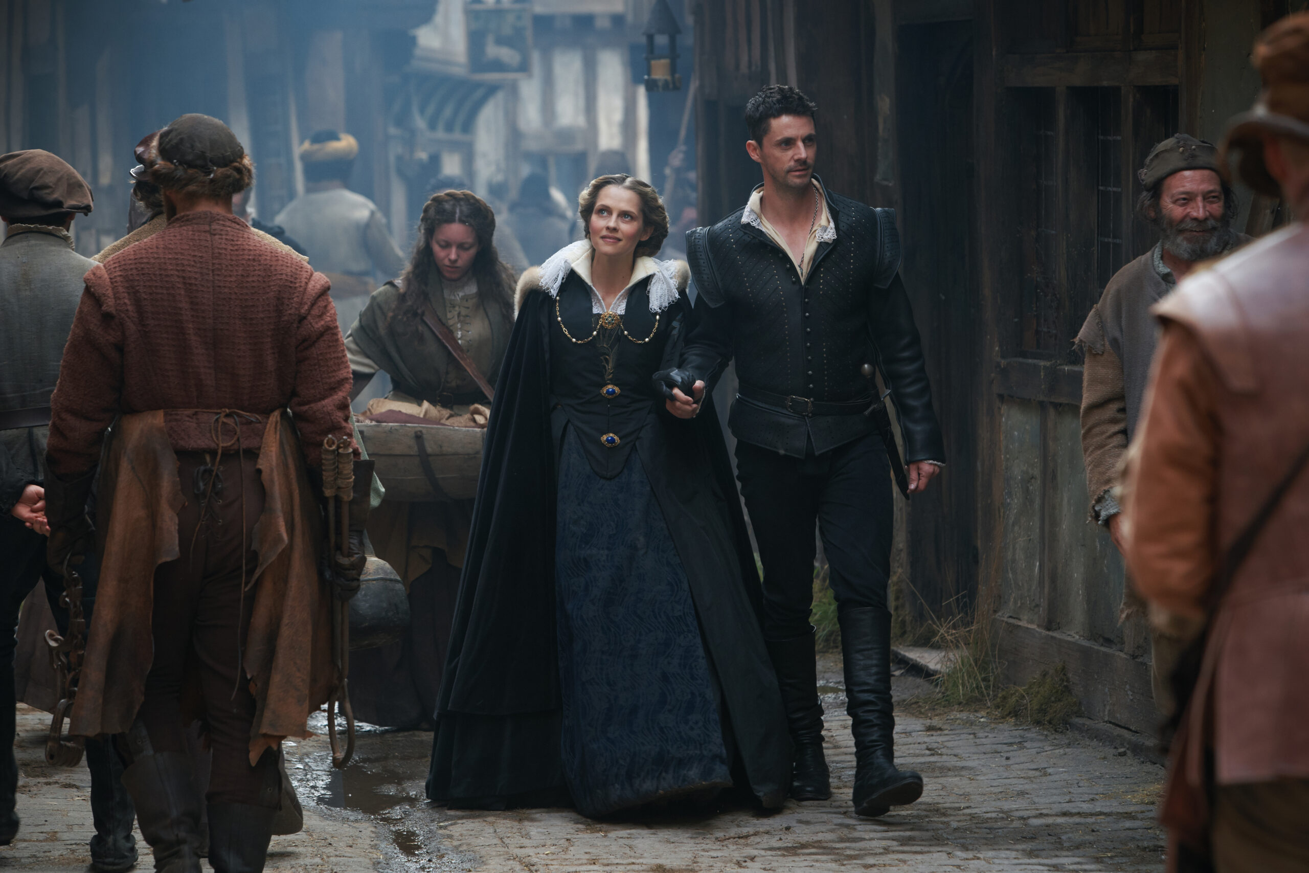 [Image description: Dia Bishop and Matthew de Clermont in A Discovery of Witches season 2] ©Sky UK Ltd.