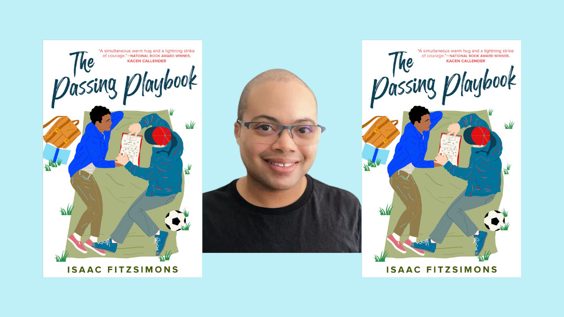 Two front cover images of THE PASSING PLAYBOOK with a headshot image of author Isaac Fitzsimons in the center