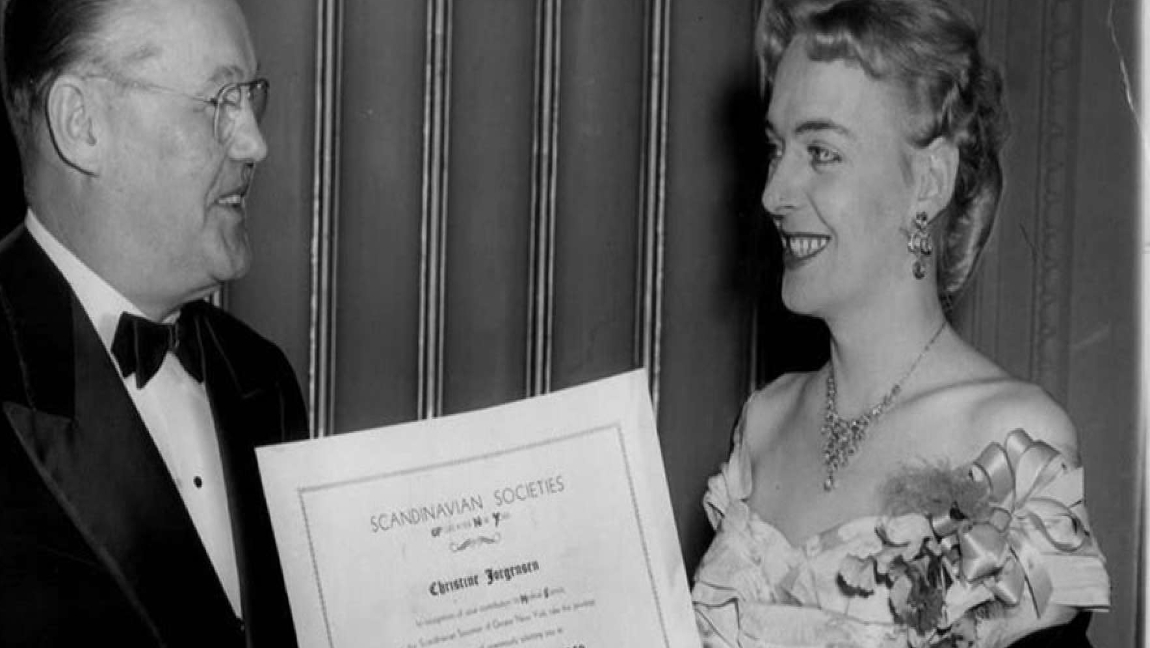 [Image description: Christine Jorgensen being awarded Woman of the Year in 1953.] Via nationalww2museum.org