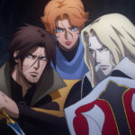 [image description: A screenshot of the three main characters of Castlevania - Trevor (left), Sypha (centre) and Alucard (right) holding weapons and gearing for battle]