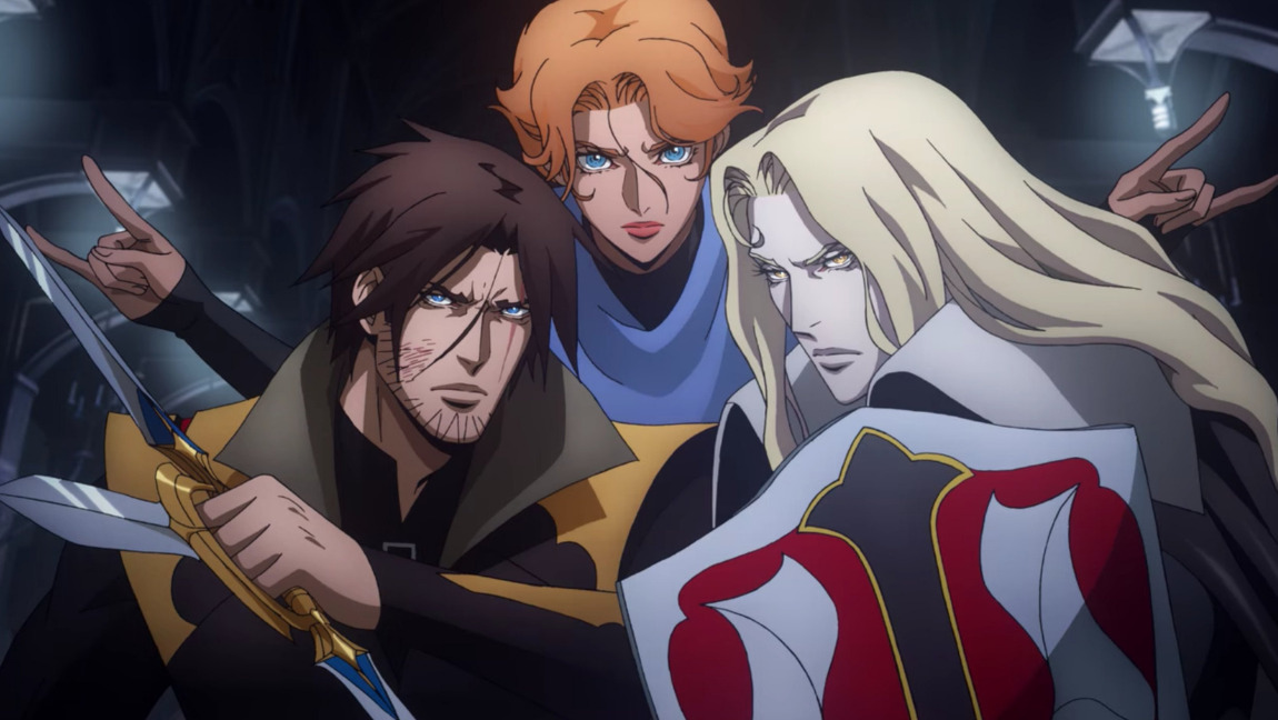 A screenshot of the three main characters of Castlevania - Trevor (left), Sypha (centre) and Alucard (right) holding weapons and gearing for battle.