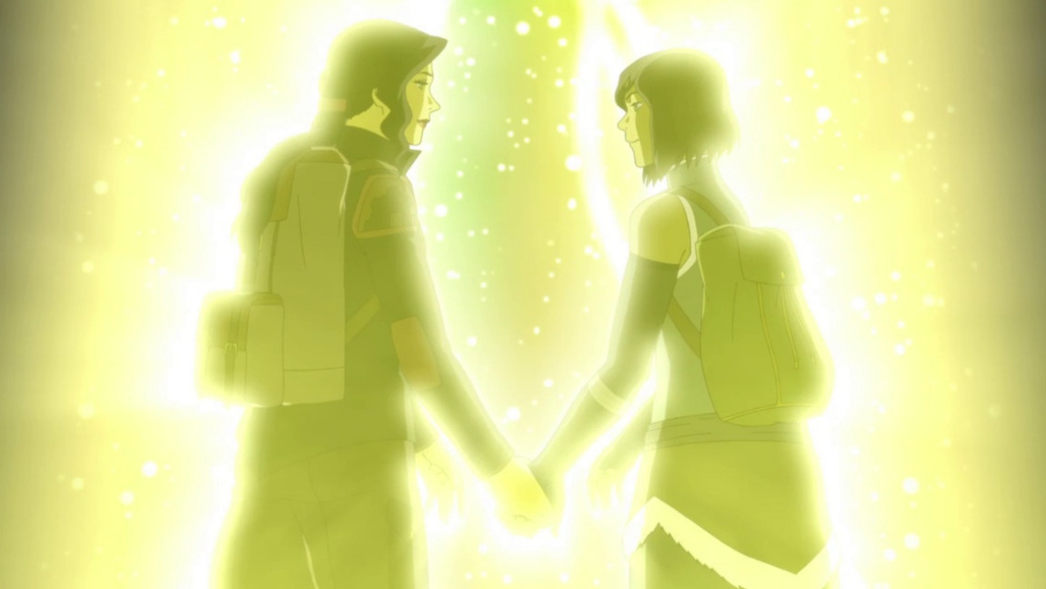 Asami (left) and Korra (right) holding hands, facing each other and stepping into the Spirit portal.