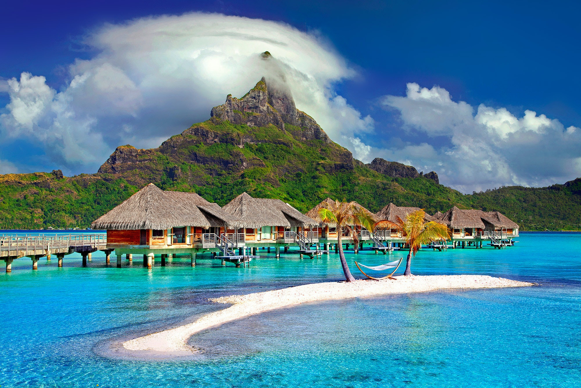 The island of Bora Bora in the country of French Polynesia