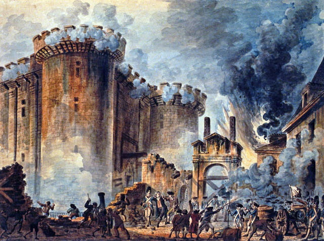 [Image description: A 19th-century depiction of the storming of the Bastille, painted by Jean-Pierre Houël.] Via origins.osu.org