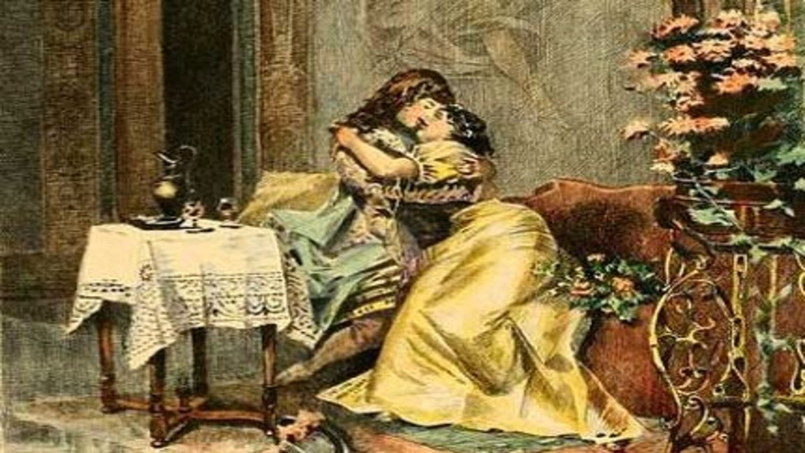 [image description: painting of two women in dresses on a couch, kissing]