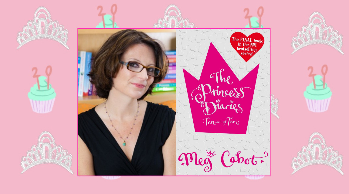 An image of Meg Cabot next to her bestselling book The Princess Diaries. It is offset on a background graphic of cupcakes and tiaras.
