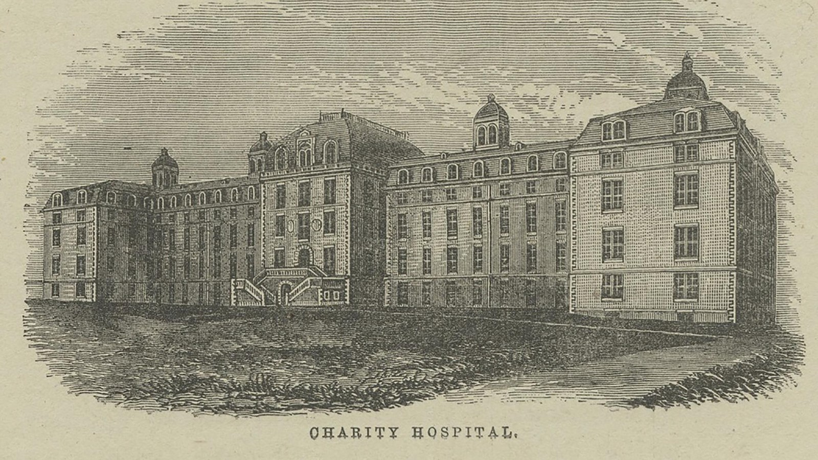 [Image description: A rendition of the asylum on Blackwell's Island.] Via The New York Public Library on nps.gov