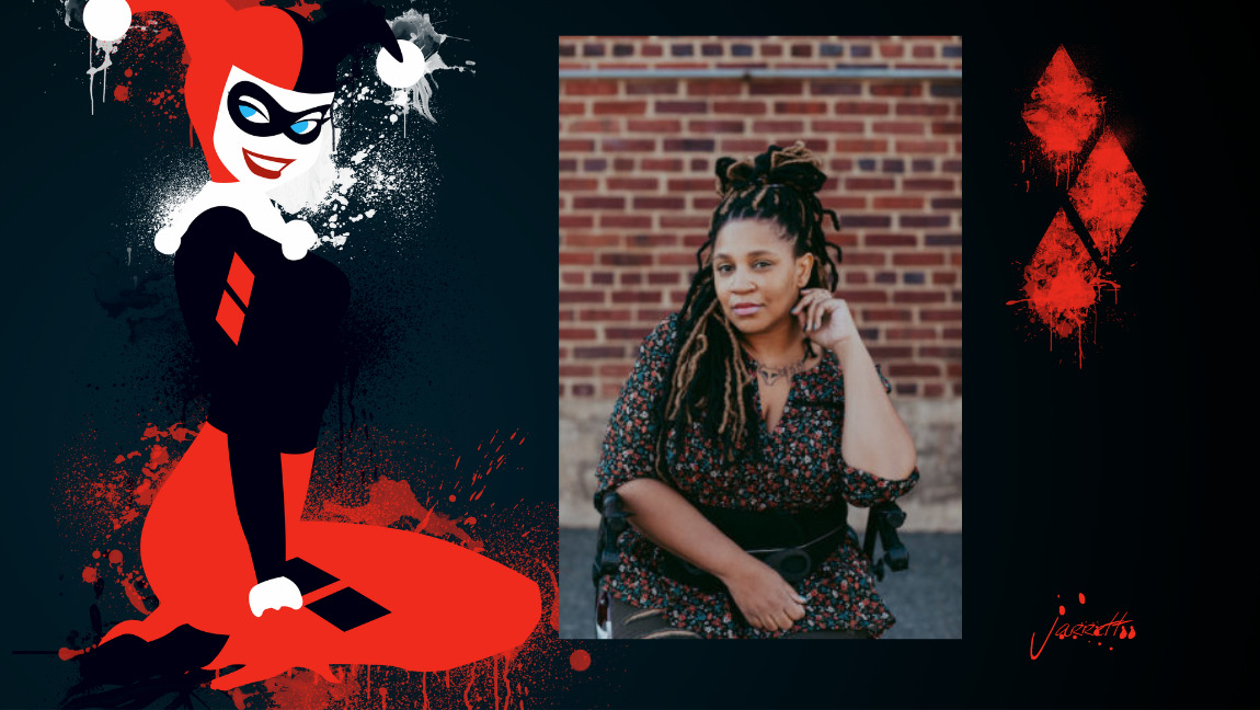 [Image description: Harley Quinn in her read and white jester outfit and a picture of Tee Franklin.]