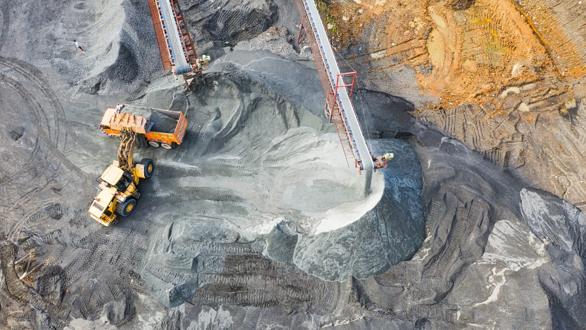 An aerial view of a coal mine.